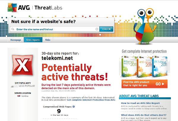 AVG konfirmon virusin në ueb faqen e Telekomit të Kosovës dhe Vala-së