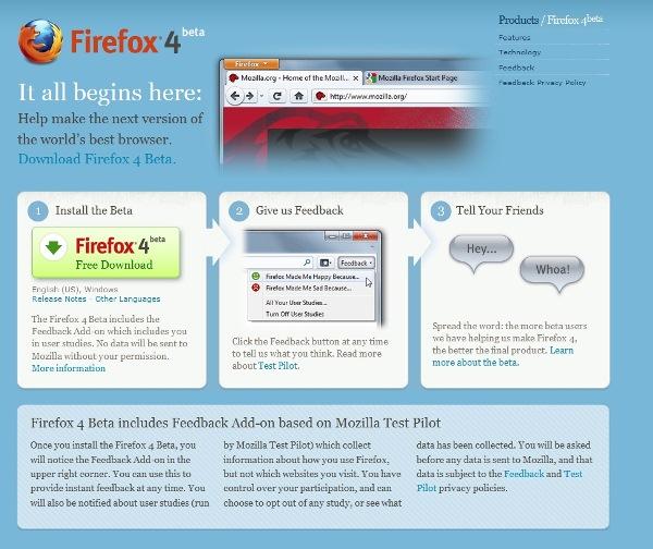 Firefox 4 Beta 1, gati për shkarkim dhe testim