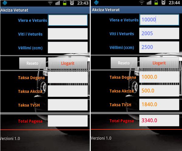 Aplikacion për llogaritje të akcizës së veturave të importuara në Kosovë