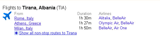 Kërkimi i shpejtë në Google për fluturimet