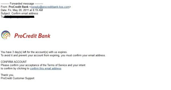 Hakerët tentuan të mashtrojnë klientët e ProCredit Bank