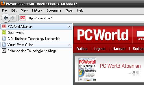 Zhvendosni anash tabet në Firefox