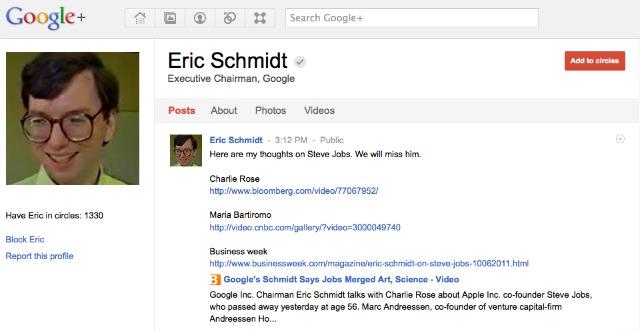 Eric Schmidt regjistrohet në Google+
