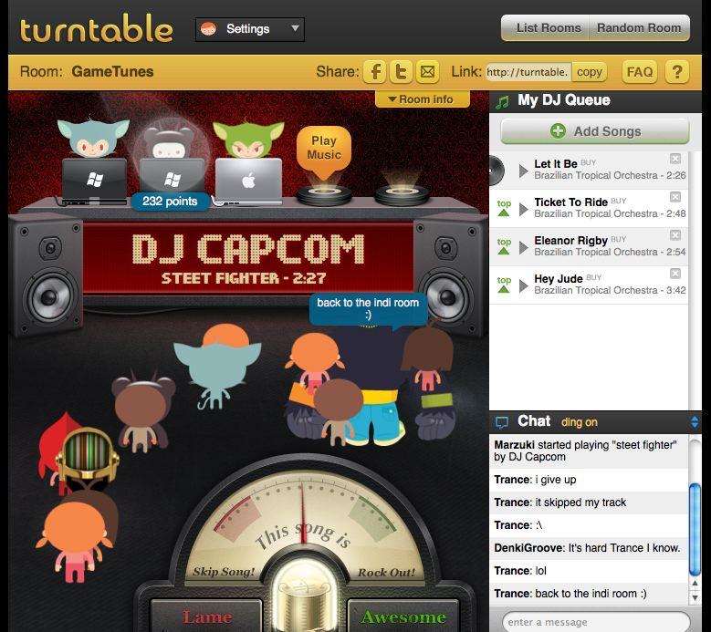 Turntable, shkund skenën muzikore virtuale