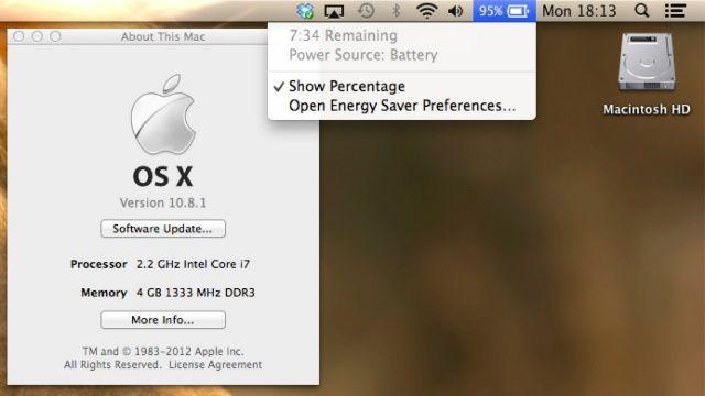 Versioni 10.8.1 i OS X thuhet se do të përmirësojë jetëgjatësinë e baterisë