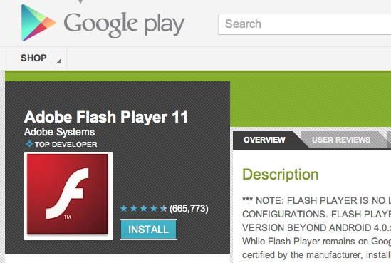 Dyqani Google Play i thotë lamtumirë Adobe Flash Player