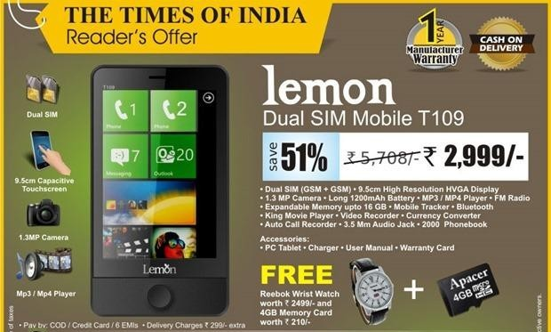 "Telefoni Indian ""Lemon"" kopjon Windows Phone"