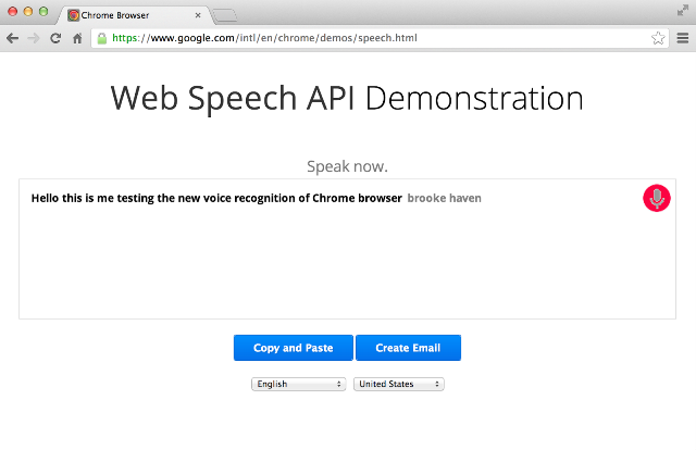 Web Speech Api chrome