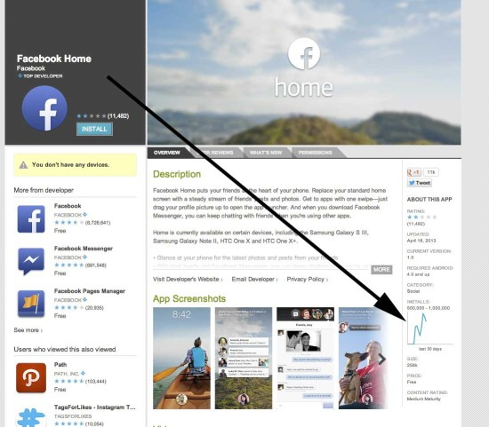 FacebookHome GooglePlay