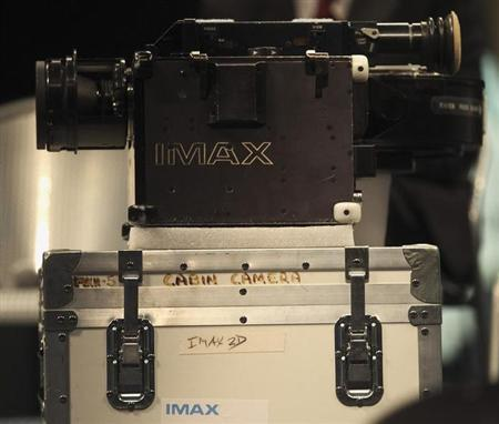 A close up of one of two IMAX cameras is seen at the Smithsonian National Air and Space Museum in Washington