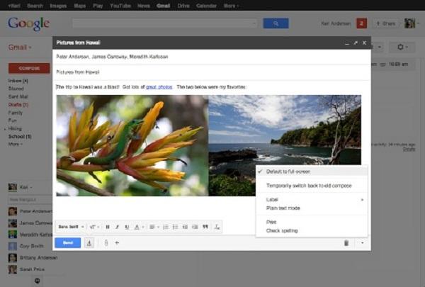 Google paraqet dritaren e re të shkrimit të e-mailit në ekran të plotë në Gmail