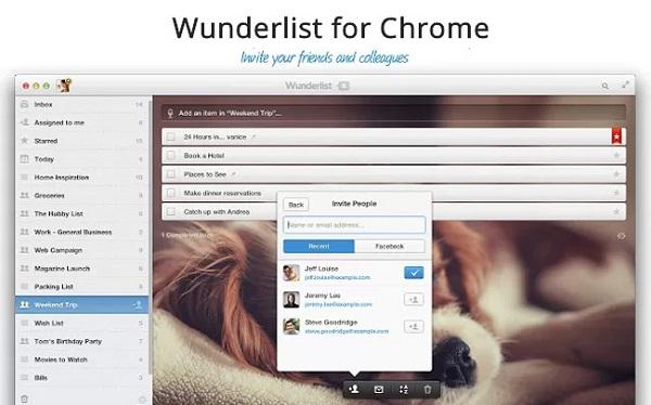 Wunderlist tani aplikacion i disponueshëm për Chrome