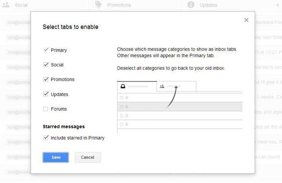 Si të aktivizoni ose çaktivizoni tab-et e reja në Gmail