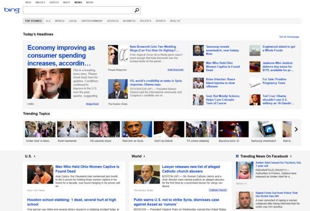 Bing News sjell postime nga Facebook dhe Twitter