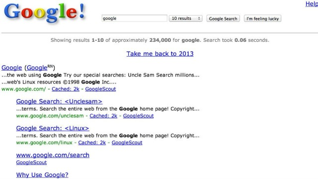 Ja se si ngjante Google në vitin 1998