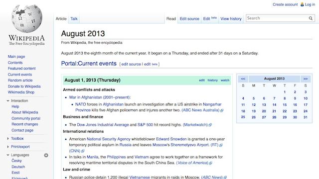 Përditësohuni me lajmet të cilat nuk keni mundur t'i lexoni me Wikipedia