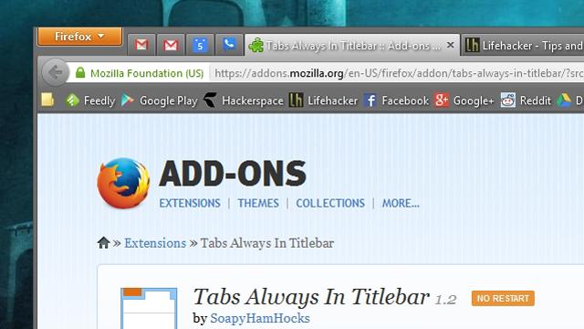 Kurseni hapësirë vertikale në Firefox me shtojcën Tab Always In Titleba