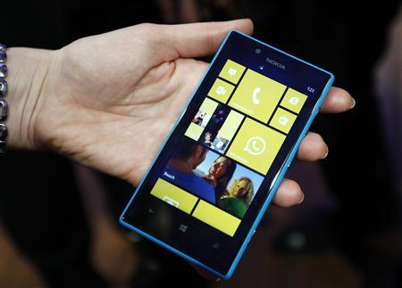 The new Nokia Lumia 520 is pictured during the Mobile World Congress in Barcelona