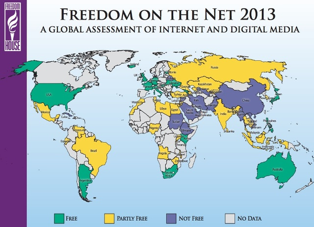 Harta e shteteve sipas lirisë së internetit në botë