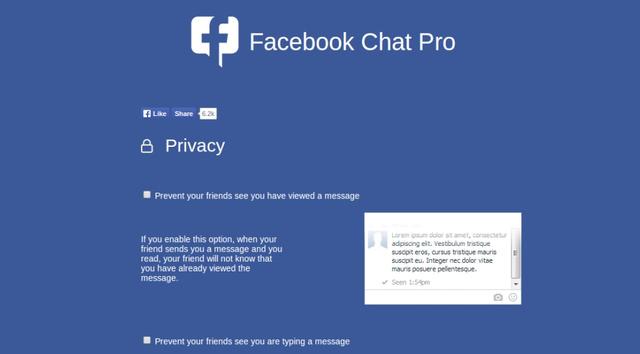 Facebook Chat Pro rregullon njoftimet dhe privatësinë për Messenger