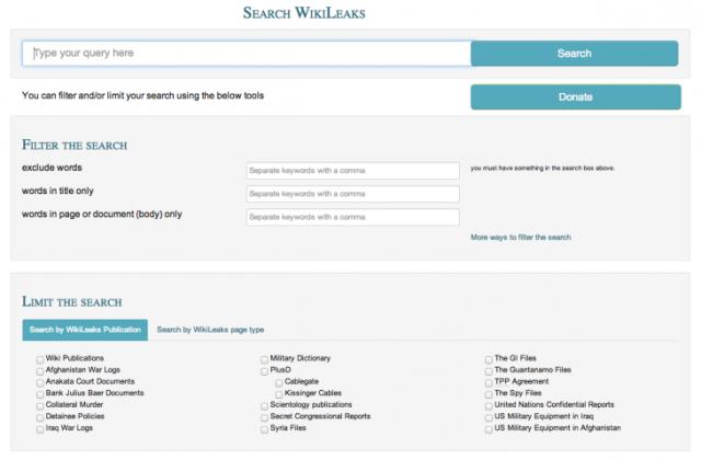 WikiLeaks tani ofron një mjet kërkimi për gjetjen e dokumenteve