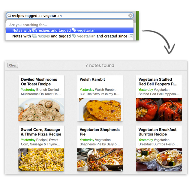 Evernote për Mac iu mundëson të kërkoni me gjuhën e përditshme