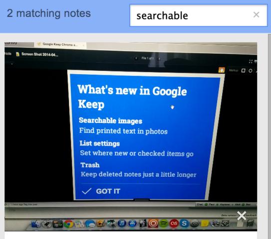 Google Keep është përditësuar me aftësinë për të kërkuar tekst në imazhe