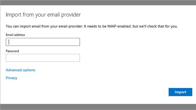 Outlook.com tani mund të importojë e-maile nga shërbimet e tjera të postës elektronike