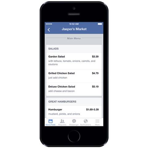 Facebook iu krijon mundësinë restoranteve të vendosin menutë në faqet e tyre