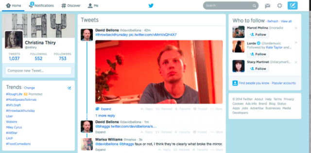 Twitter përditëson ndërfaqen e uebit me një kolonë të tretë për rekomandim të përmbajtjes