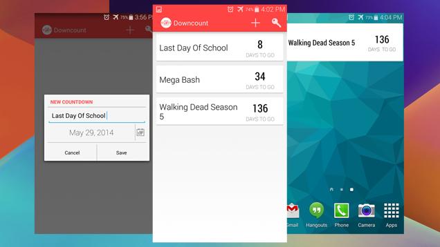 Downcount për Android përcjell ngjarjet e rëndësishme duke numëruar ditët