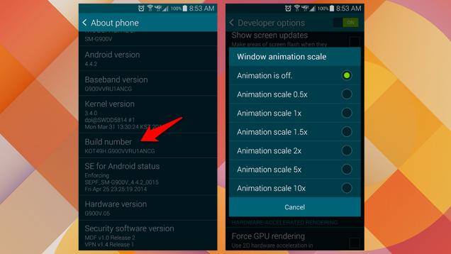 Shpejtoni Android-in duke ndalur animacionet