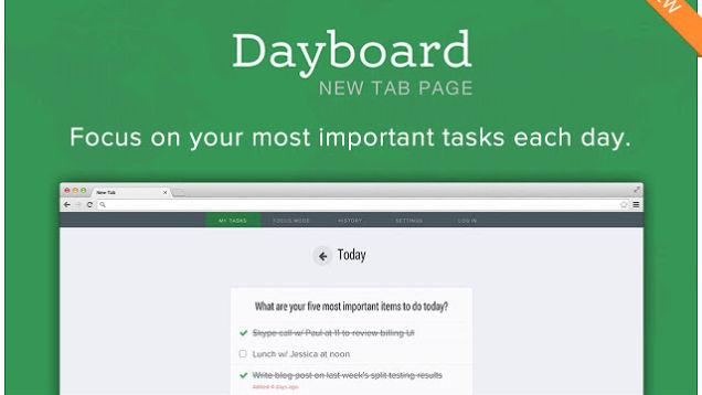 Dayboard përdor tabin e ri në Chrome për të ju mbajtur të përqendruar në gjërat që duhet të bëni