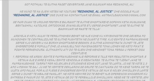 Sulmohen uebfaqet e ministrive në Shqipëri