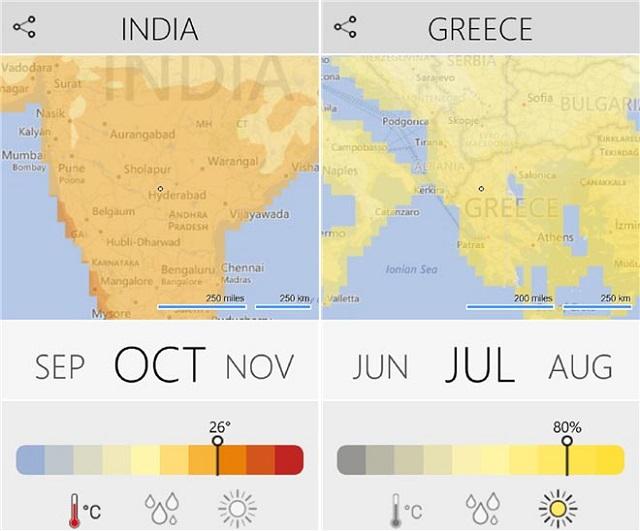 Aplikacionin Climatology informon përdoruesit për kushtet atmosferike
