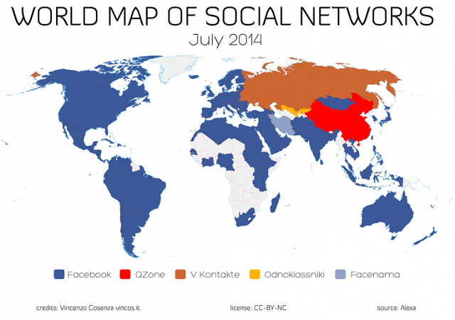 Harta e rrjeteve sociale tregon se Facebook dominon në 130 shtete nga 139 të vëzhguar