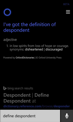 Asistenti dixhital i Windows Phone Cortana, tashmë mund të shpjegojë fjalë