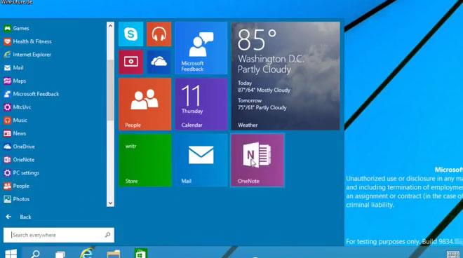Publikohet video që tregon menunë Start të Windows 9 në veprim