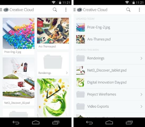 Adobe linçon aplikacionin Creative Cloud për Android