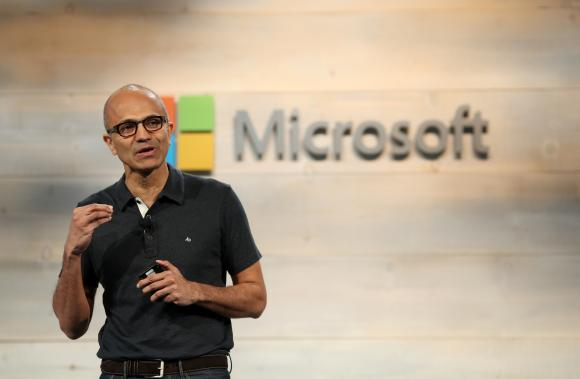 Microsoft CEO Nadella speaks during a Microsoft cloud briefing event in San Francisco