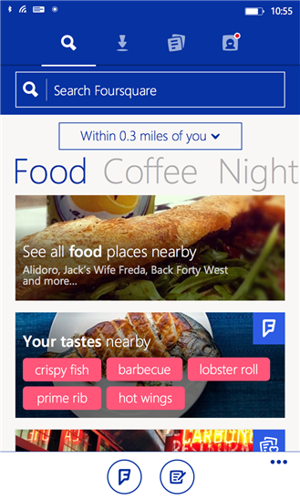 Foursquare ridizenjon aplikacionin kryesor në Windows Phone