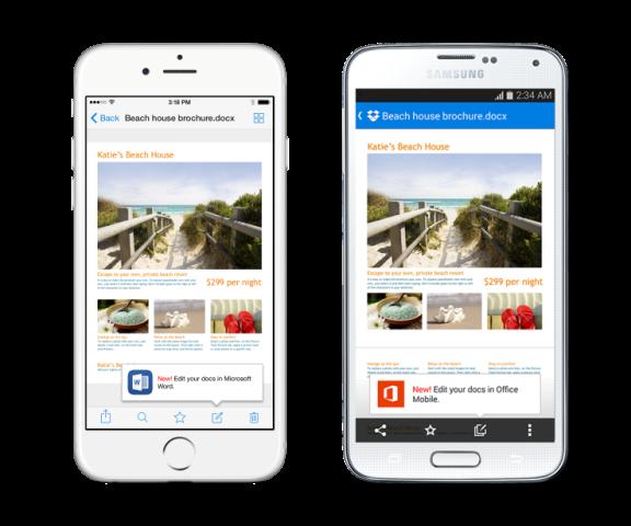 Aplikacioni Dropbox në smartfonë është tashmë i integruar me Microsoft Office