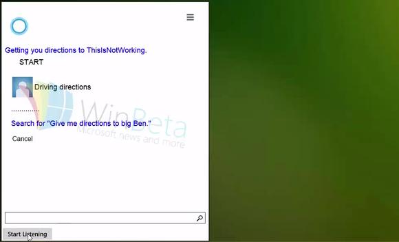 Një version i hershëm i Cortana shfaqet në Windows 10