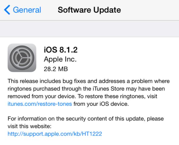Apple lëshon përditësimin iOS 8.1.2