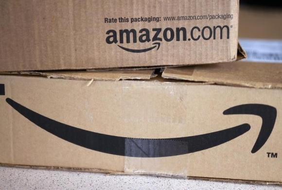 Two freshly delivered Amazon boxes are seen on a counter in Golden, Colorado