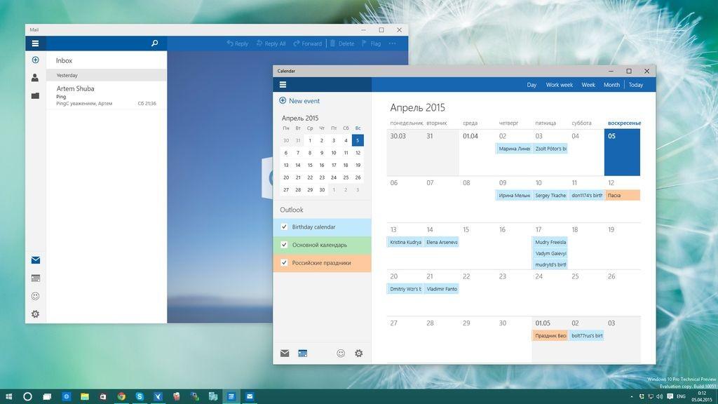 Shfaqen aplikacionet e reja të Postës Elektronike dhe Kalendarit në ndërtimin më të fundit të Windows 10