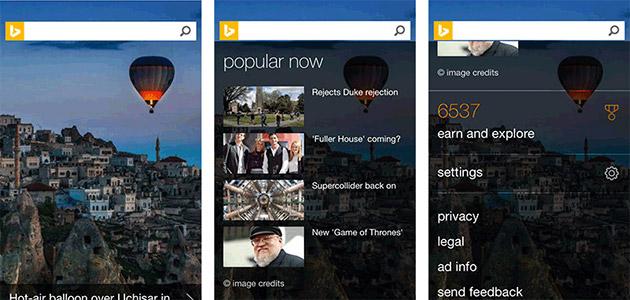 Faqja e motorit të kërkimit Bing në iOS dhe Android iu nënshtruar një ridezenjimi masiv