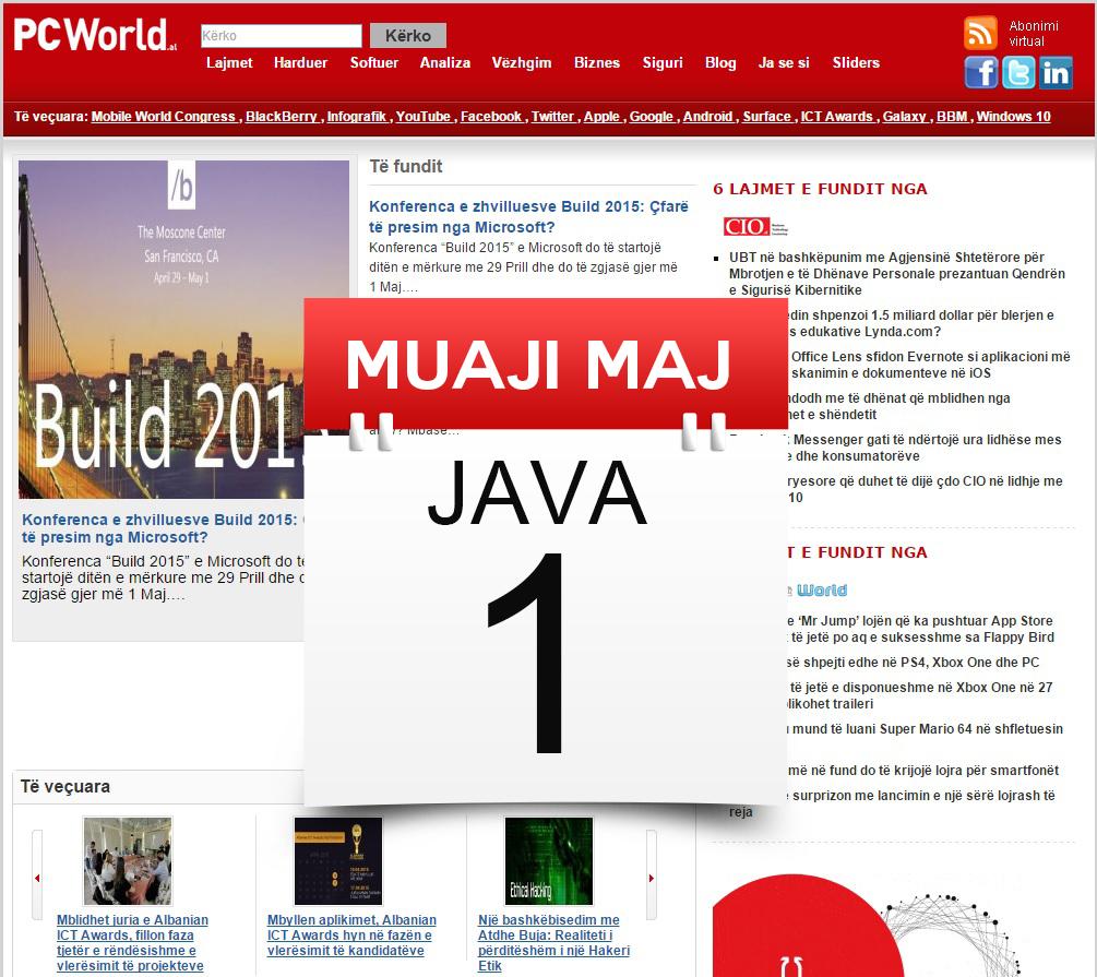 Muaji Maj Java 1 në PCWorld: Vala lançon 3G dhe 4G, Startup Weekend Tirana po vjen më 29 Maj ndërsa LG prezantoi modelin G4
