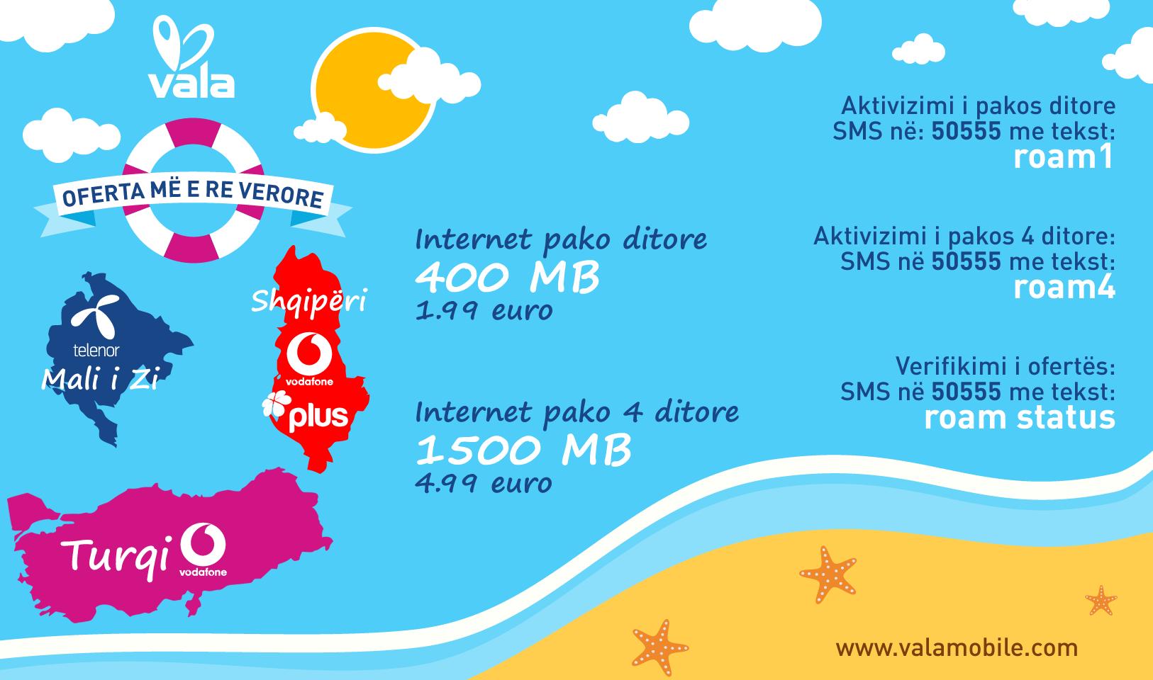 Vala nënshkruan marrëveshje Roaming me Vodafone dhe Telenor në Shqipëri, Turqi dhe Malin e Zi