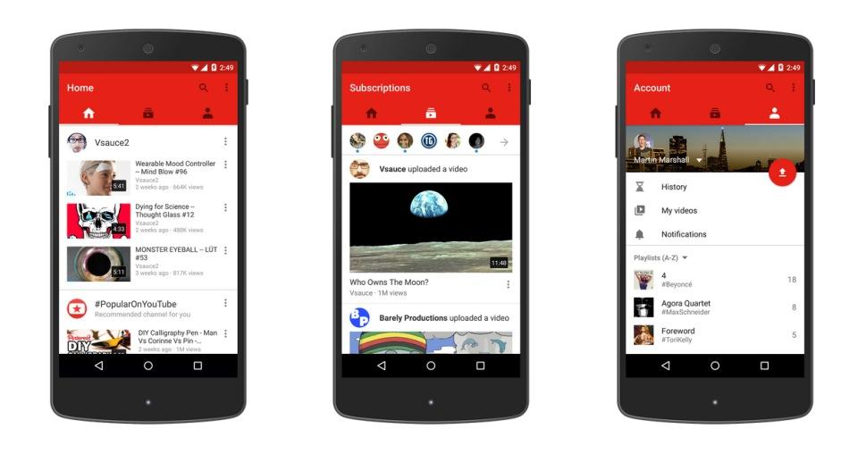 Youtube ridizenjon aplikacionin e platformës në Android dhe ueb